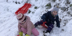 Zeleňáčci na sněhu